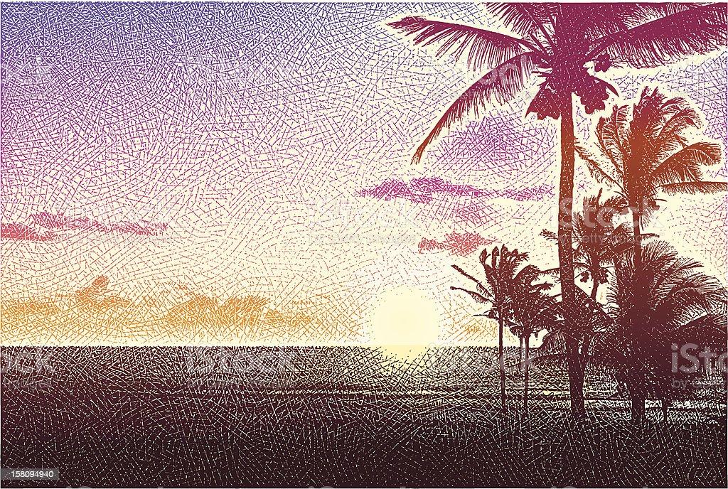 Beach, Palm Trees and Sunset vector art illustration