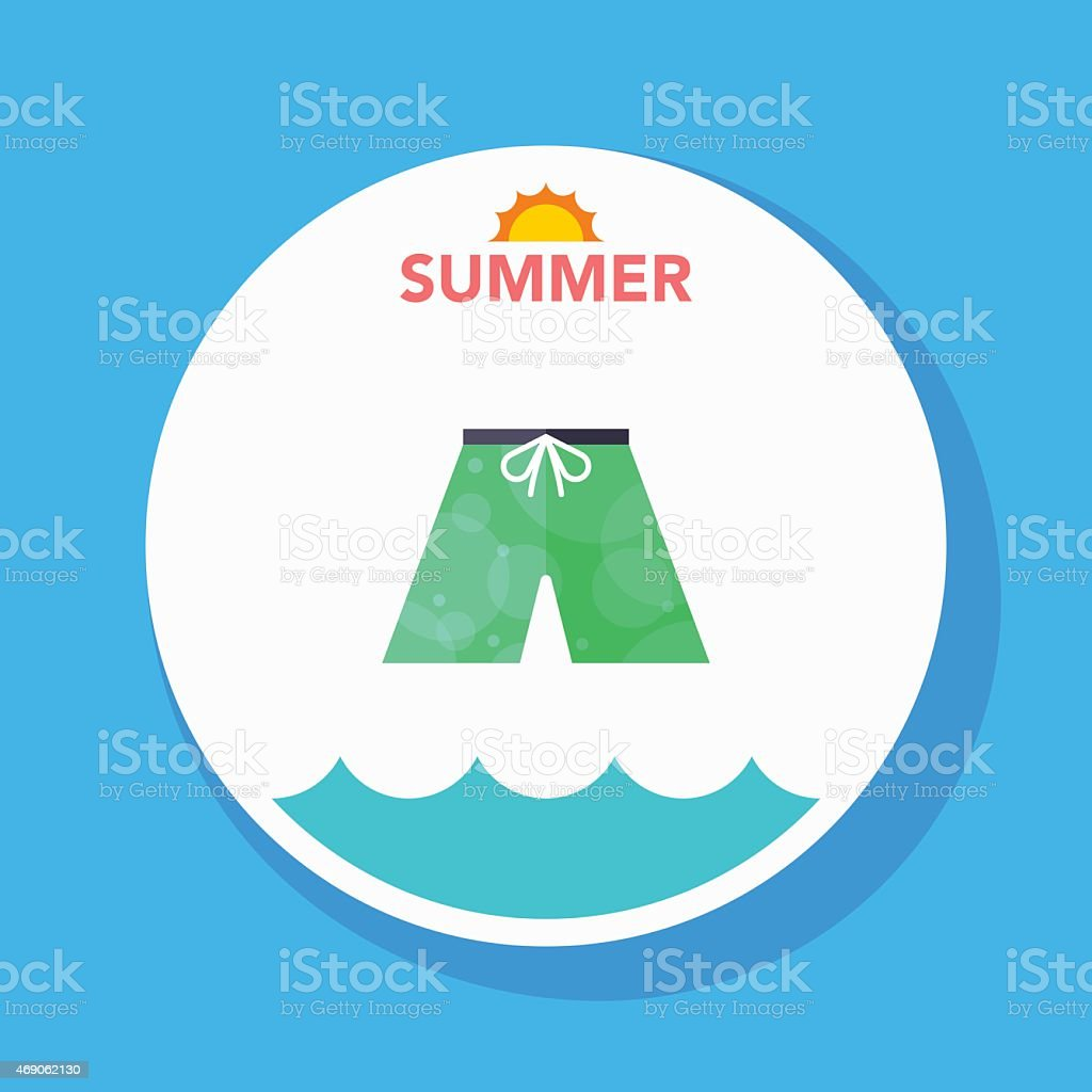 beach pants flat icon with long shadow on circle background vector art illustration