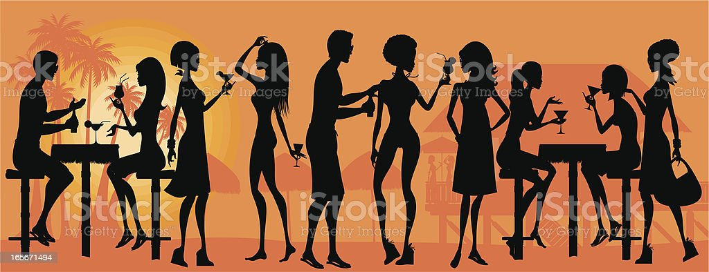 Beach Party Silhouette royalty-free stock vector art