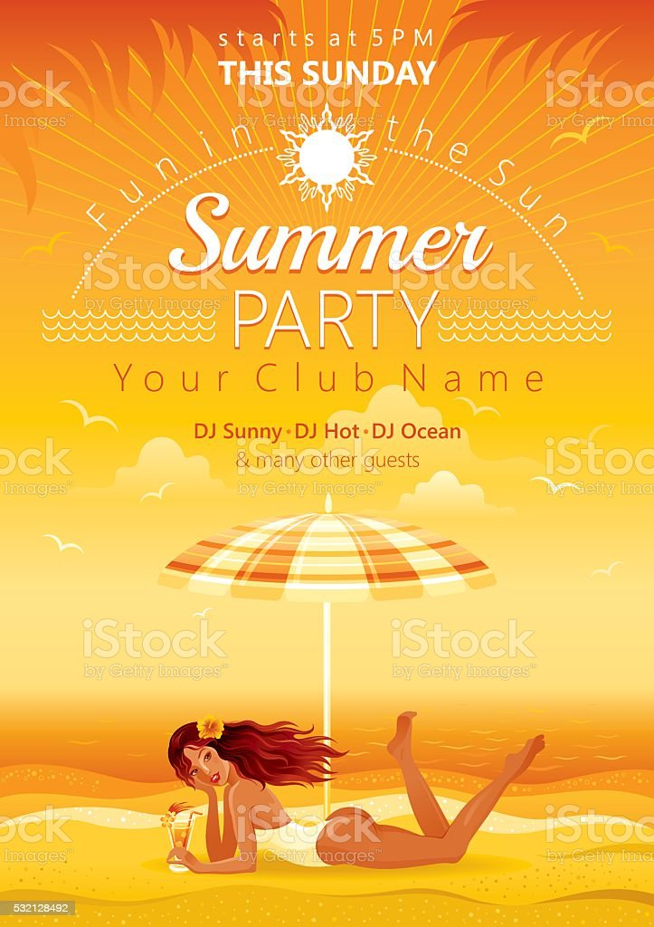 Beach party vector art illustration