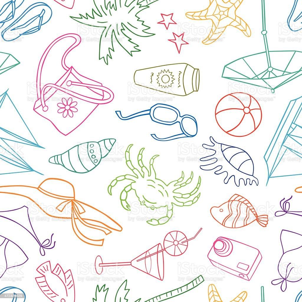 Beach pattern vector art illustration