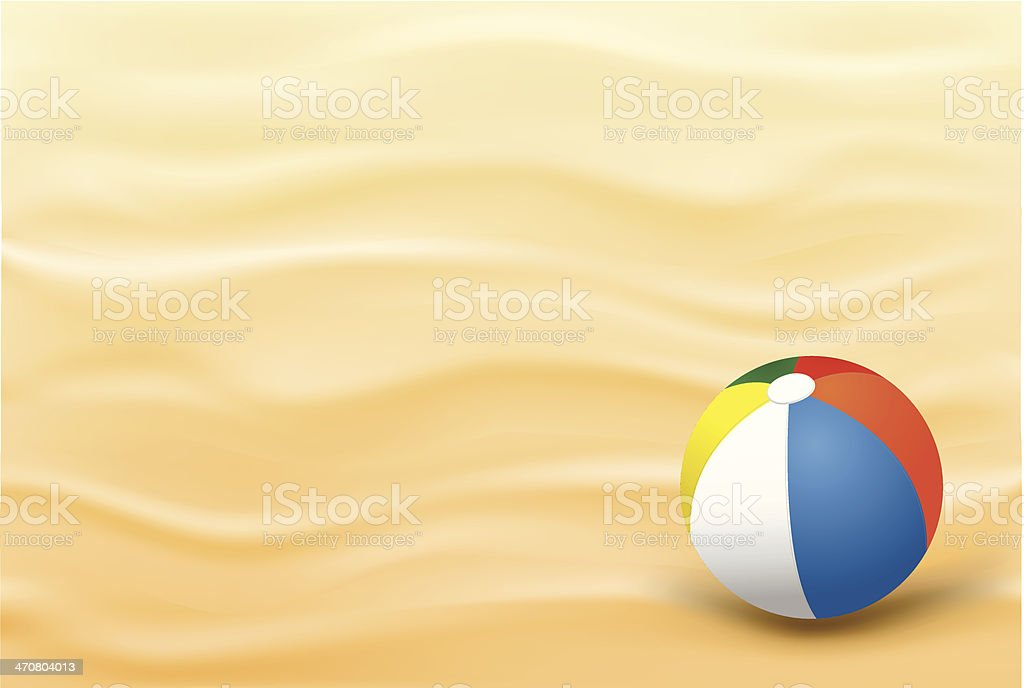 Beach Sand Background And A Ball vector art illustration