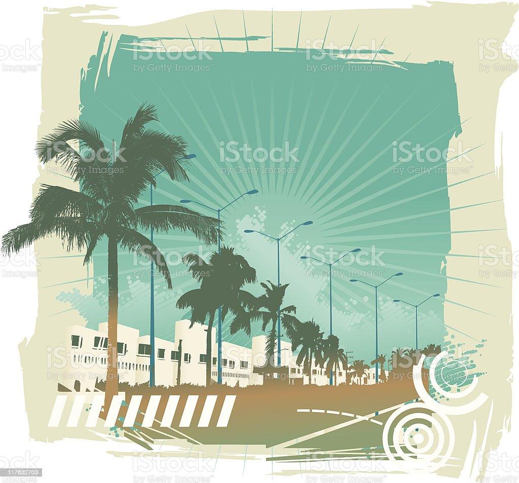 beach Scene frame vector art illustration