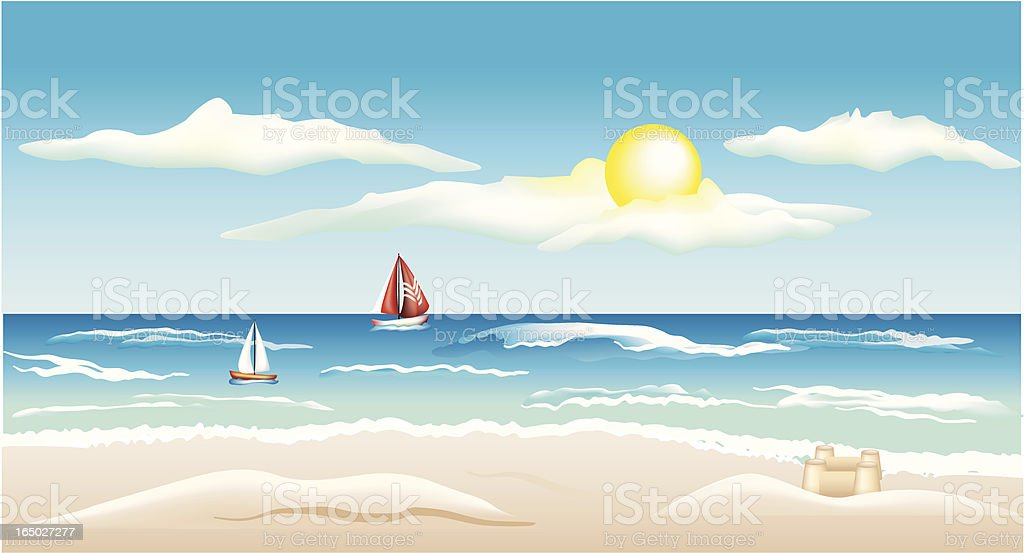 Beach Scene (Vector) royalty-free stock vector art