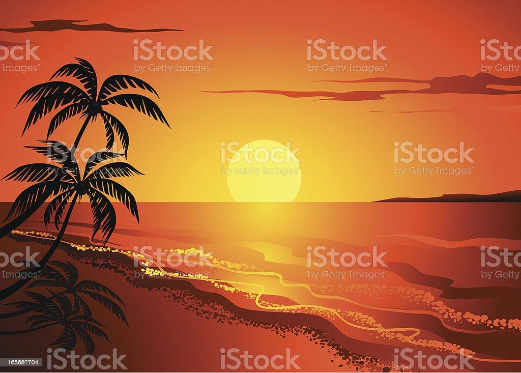 Beach Scene vector art illustration