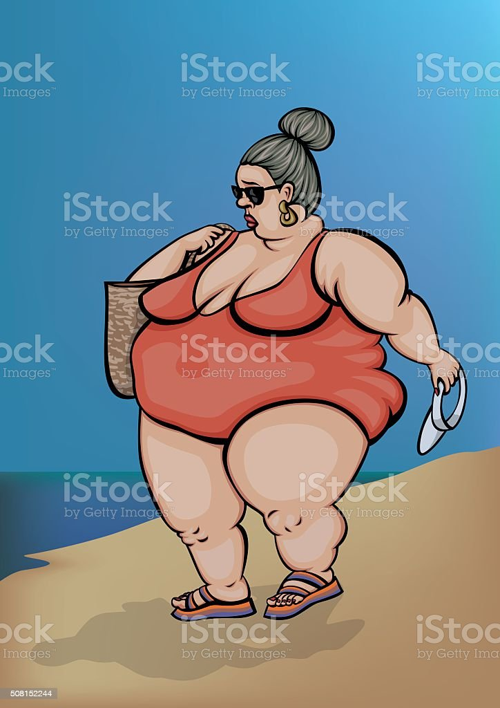 Beach Scenes - Granny from Switzerland vector art illustration