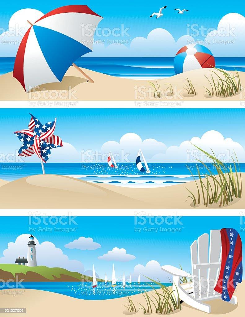 Beach Scenes vector art illustration
