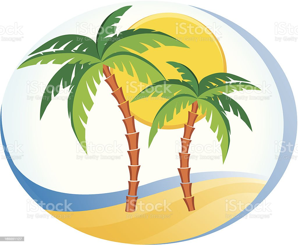 Beach, sea, sun, palms royalty-free stock vector art