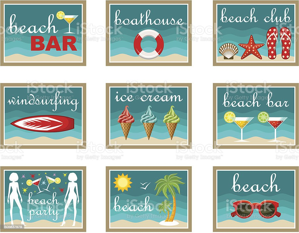 Beach set icons royalty-free stock vector art