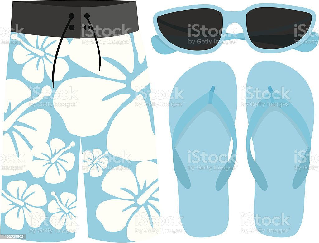 Beach set vector art illustration