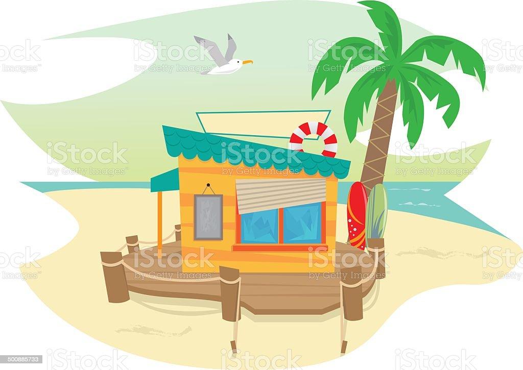 Beach Shack vector art illustration