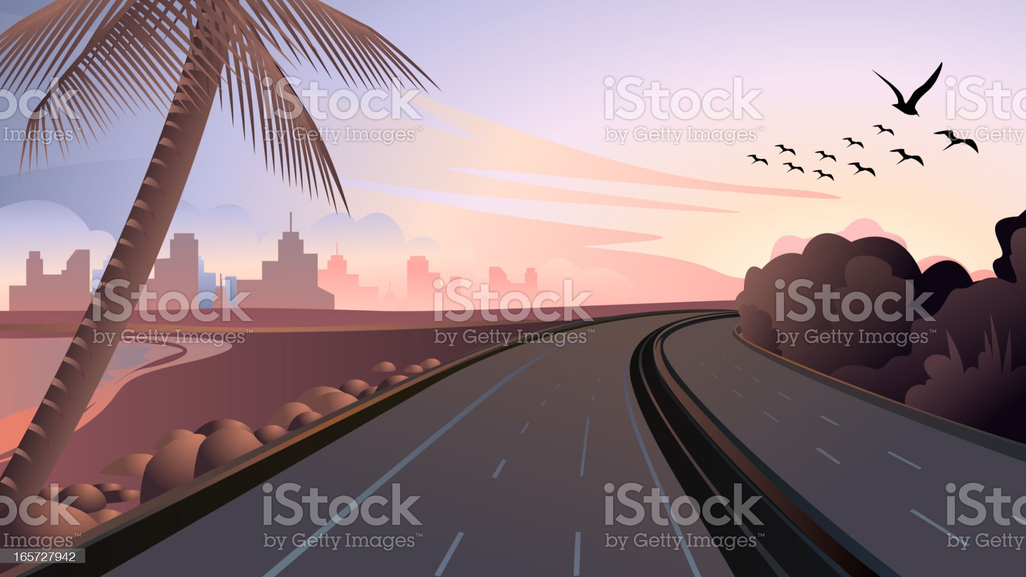 Beach side Highway royalty-free stock vector art