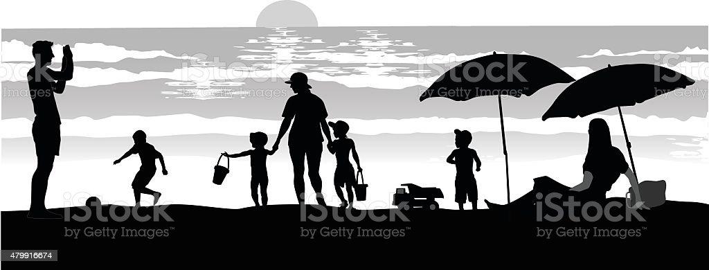 Beach Silhouettes At Dusk vector art illustration