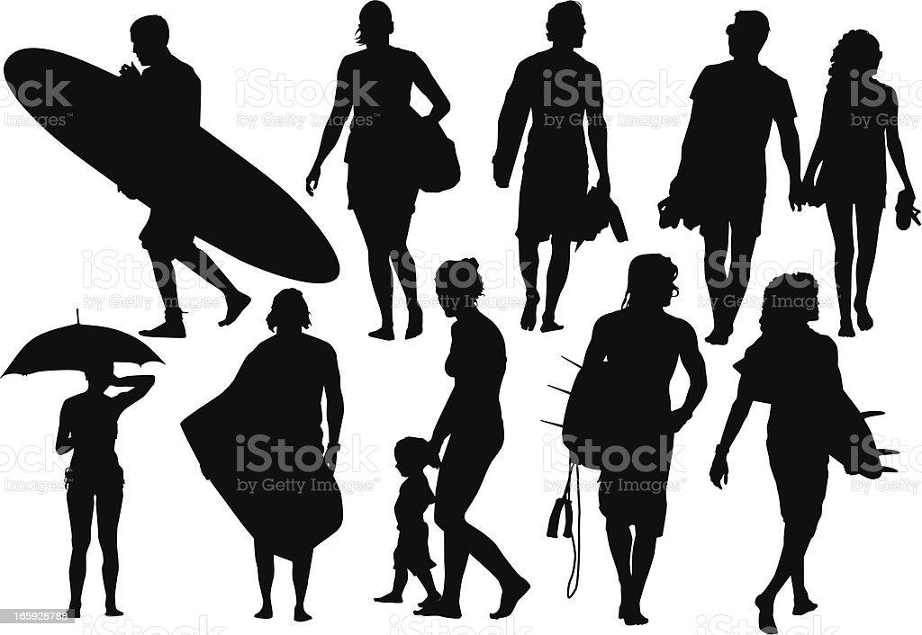 Beach silhouettes vector art illustration