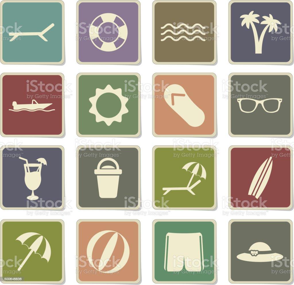 Beach simply icons vector art illustration