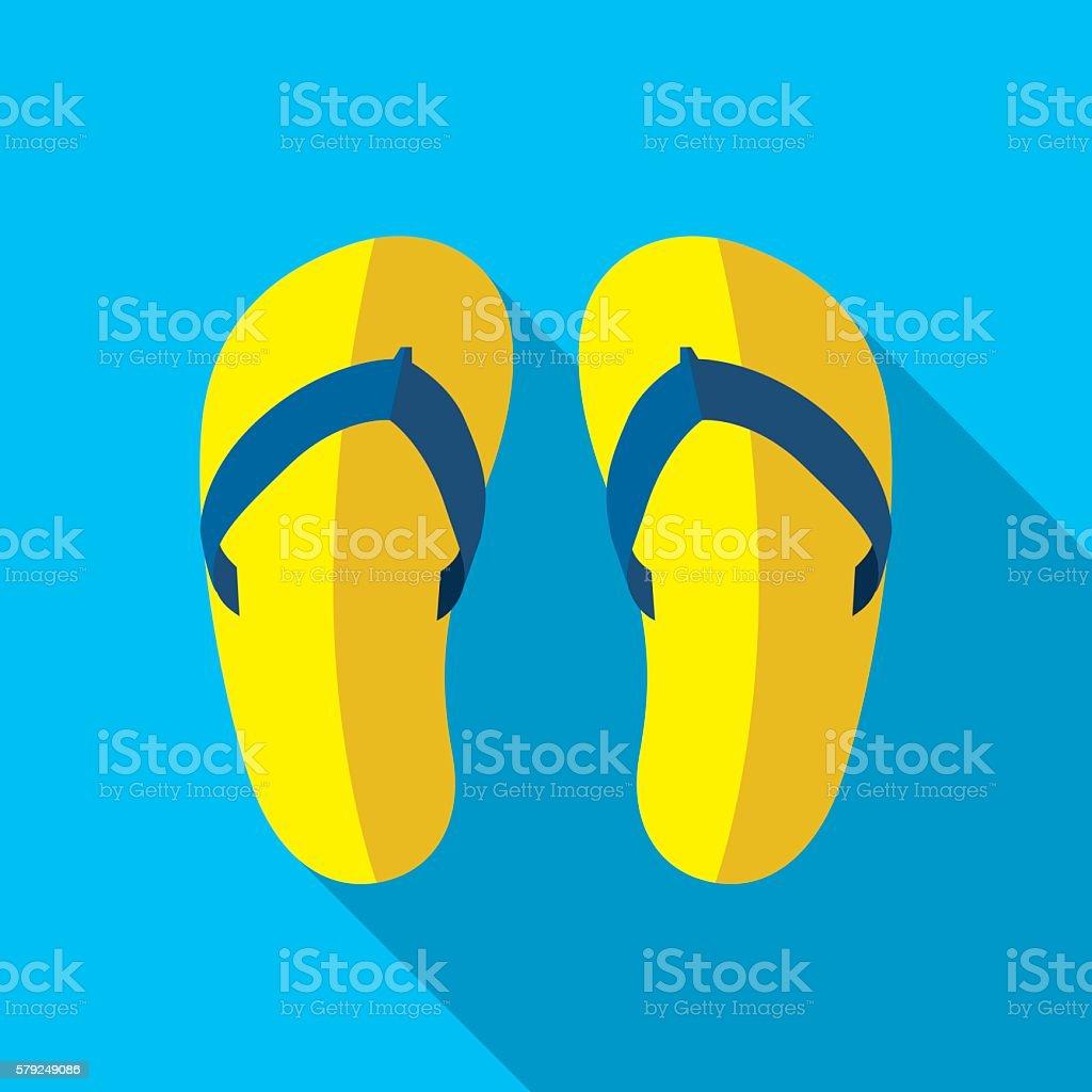 Beach Slippers Flat Icon vector art illustration