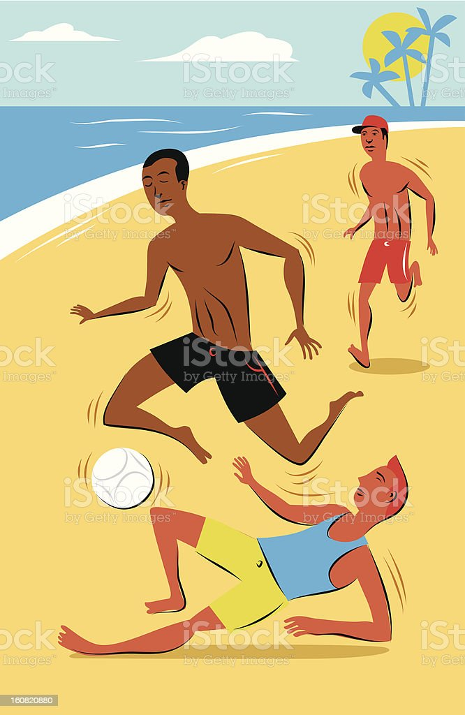 Beach soccer vector art illustration