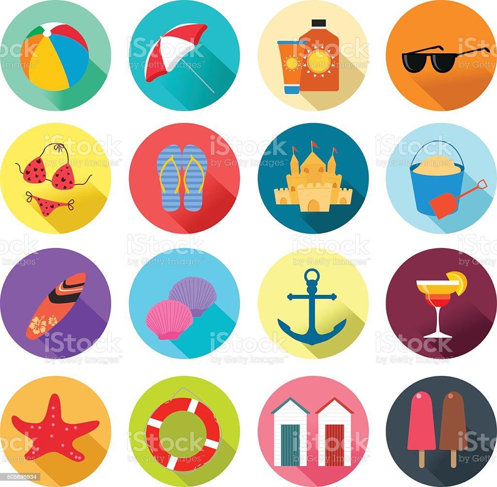 Beach Summer Icons vector art illustration