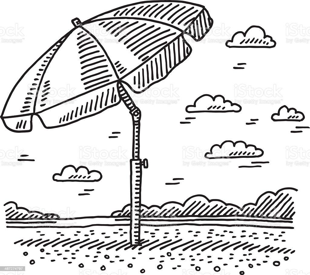 Strand clipart schwarz weiß  Strand Sommer Sonnenschirm Zeichnung Vektor Illustration 487274797 ...