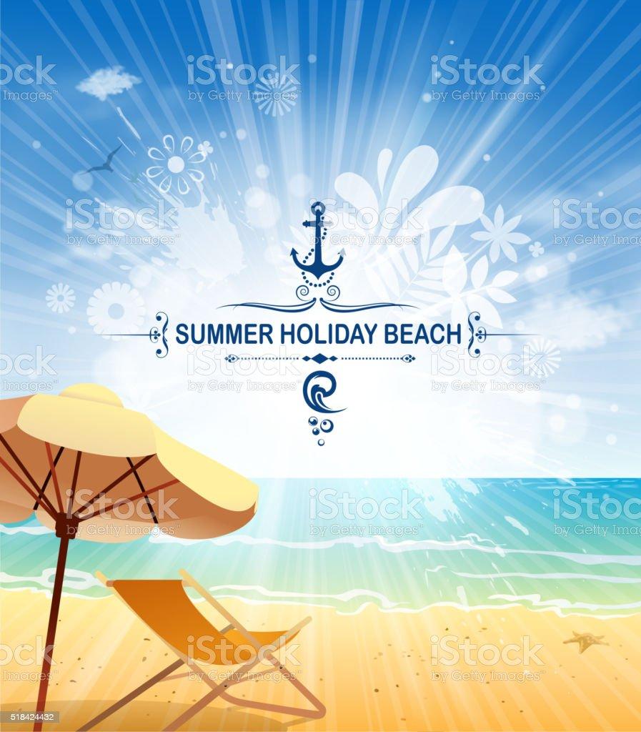 beach sun vector art illustration