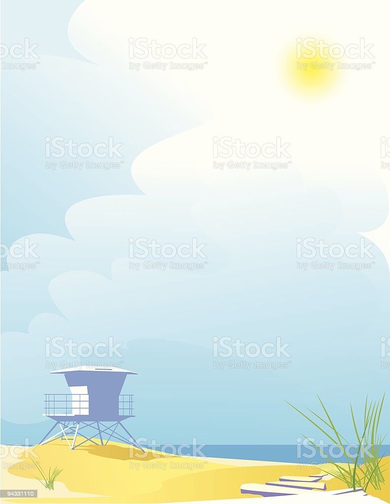 Beach, Sunny day and Blue Sky vector art illustration