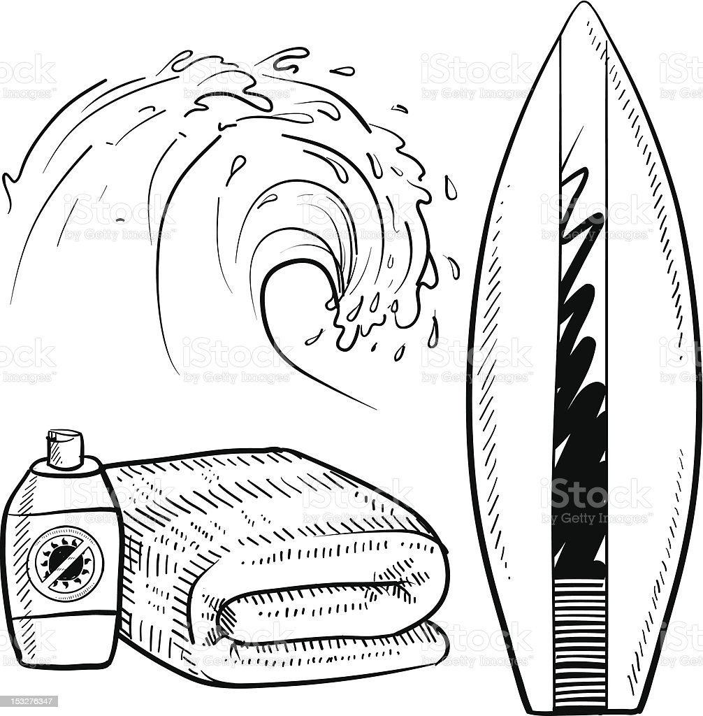Beach surfing objects sketch vector art illustration