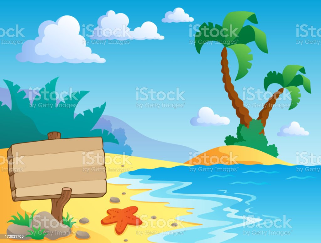Beach theme scenery 2 royalty-free stock vector art