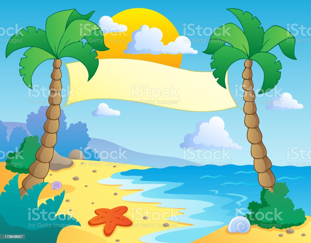 Beach theme scenery 4 royalty-free stock vector art