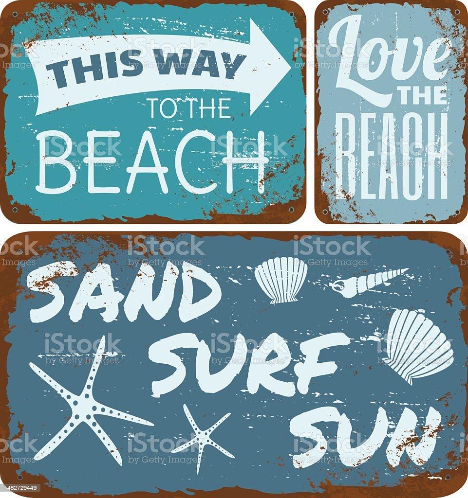Beach Tin Signs Collection vector art illustration