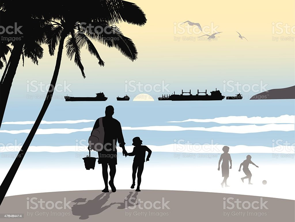 Beach Tourists vector art illustration