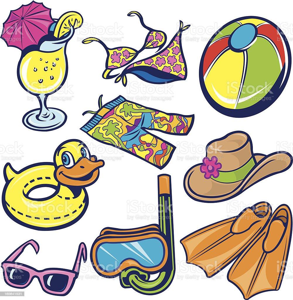 Beach Toys, Flippers, Scuba Mask, Sunglasses, Bikini, Lemonade royalty-free stock vector art