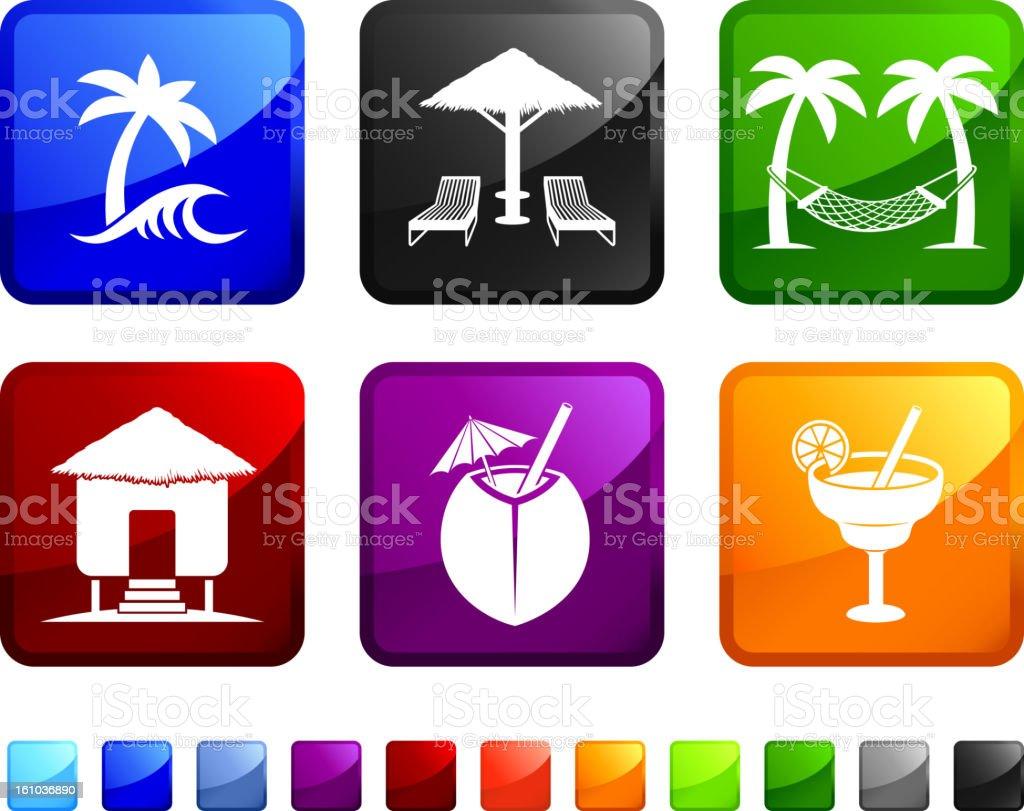 Beach Tropical Resort royalty free vector icon set stickers vector art illustration