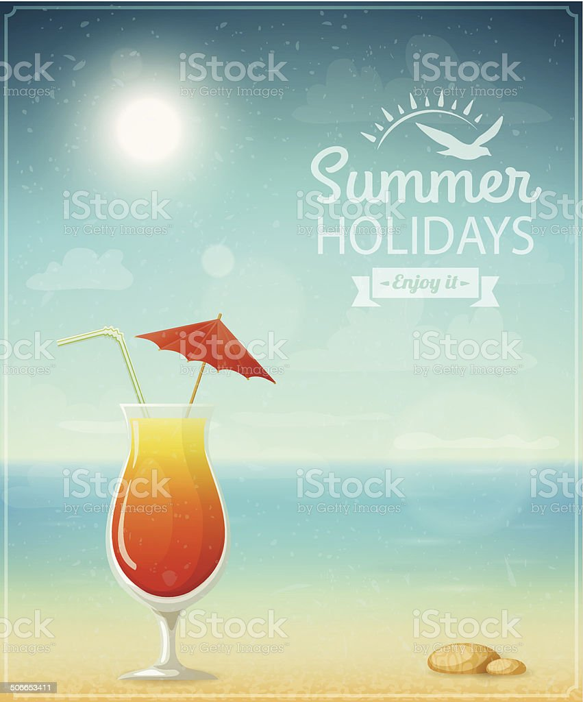 Beach typographic background with cocktail royalty-free stock vector art