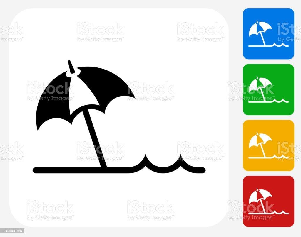 Beach Umbrella Icon Flat Graphic Design vector art illustration