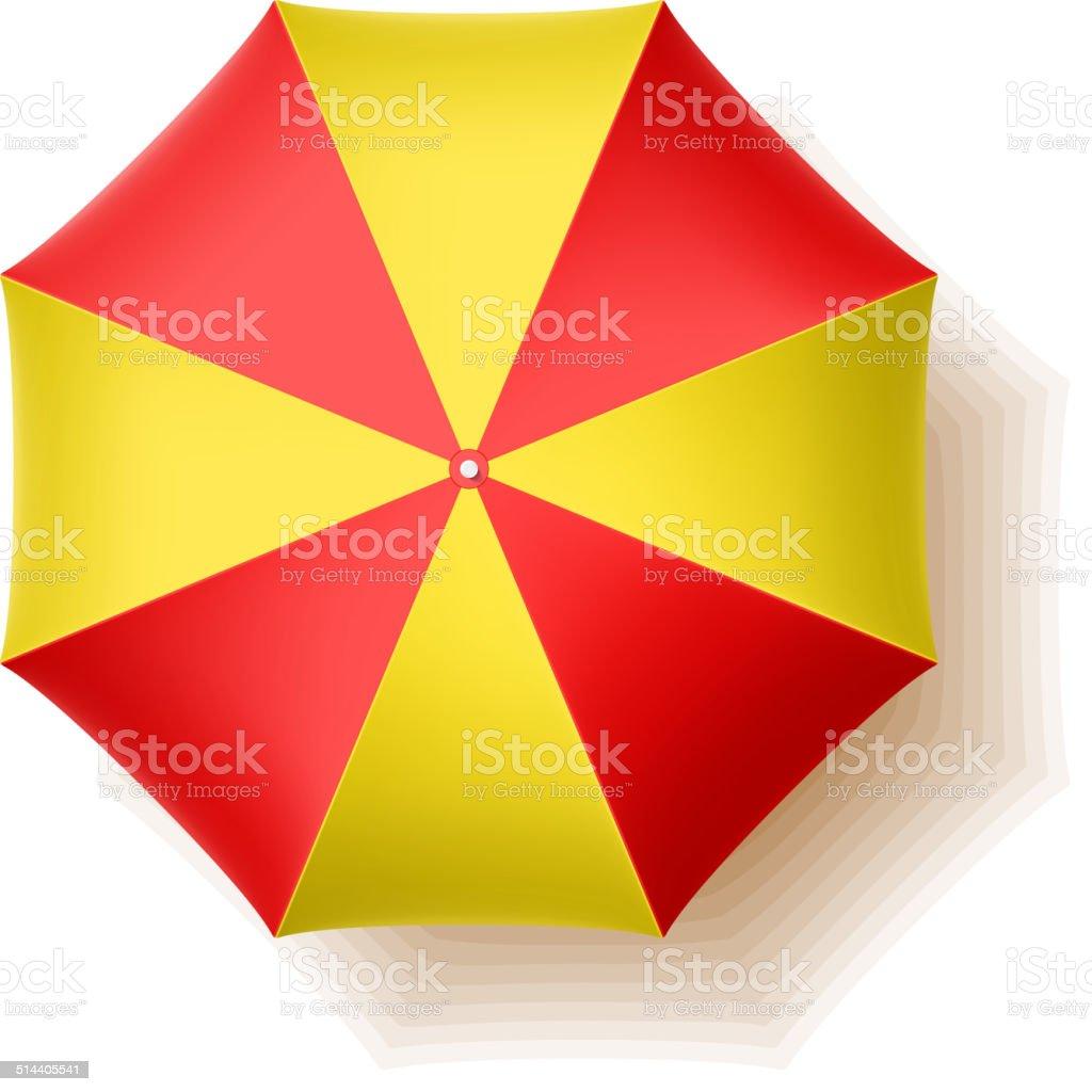 Beach umbrella, top view vector art illustration