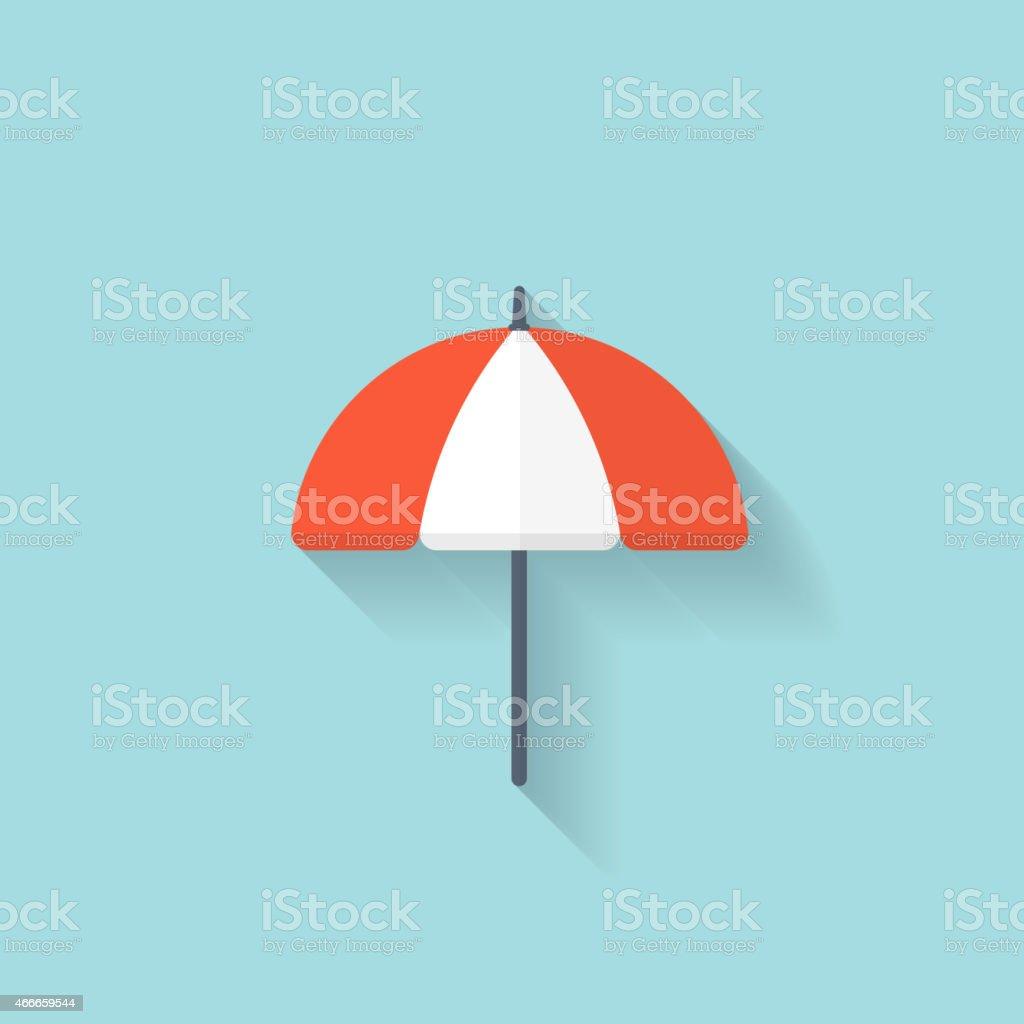 Beach umbrella web flat icon vector art illustration