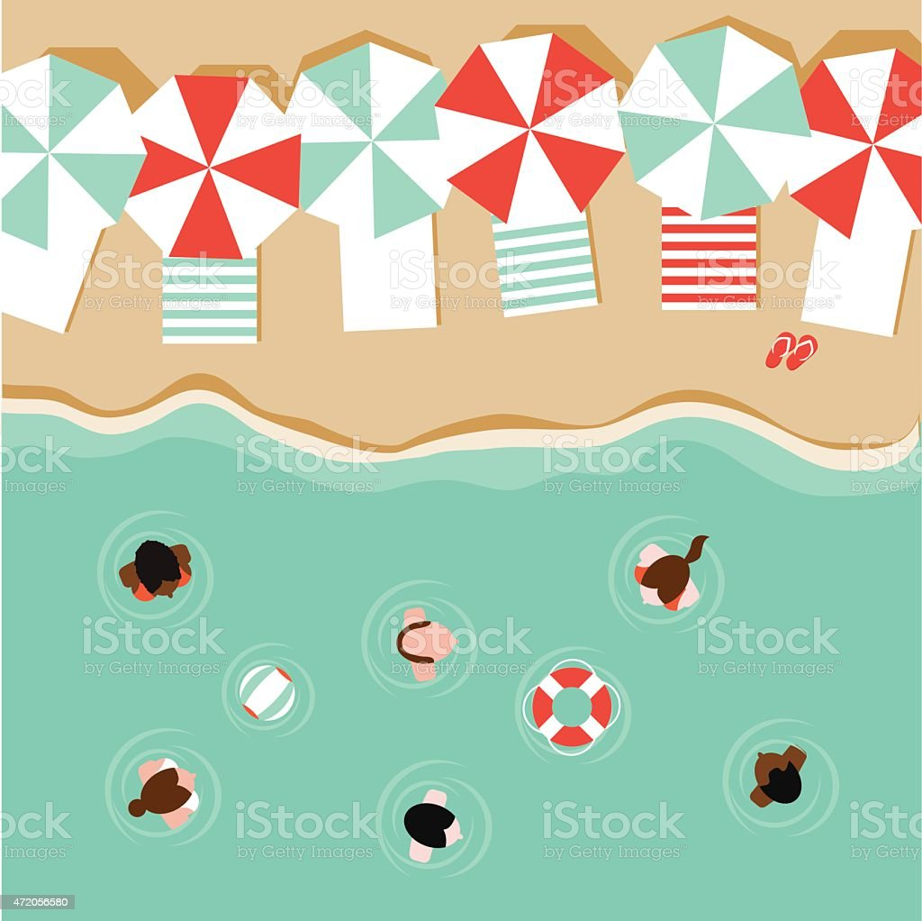 Beach umbrellas and people flat design EPS 10 vector vector art illustration