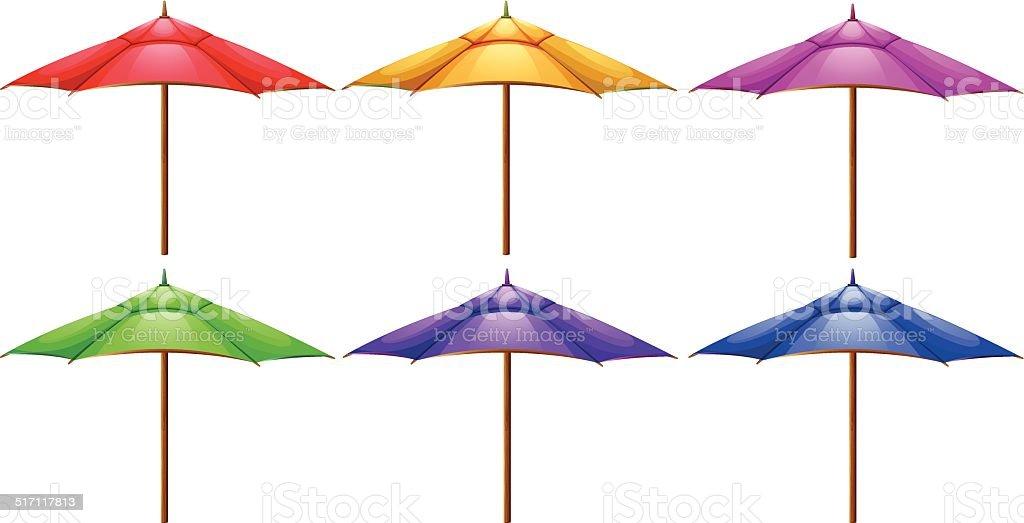 Beach umbrellas vector art illustration