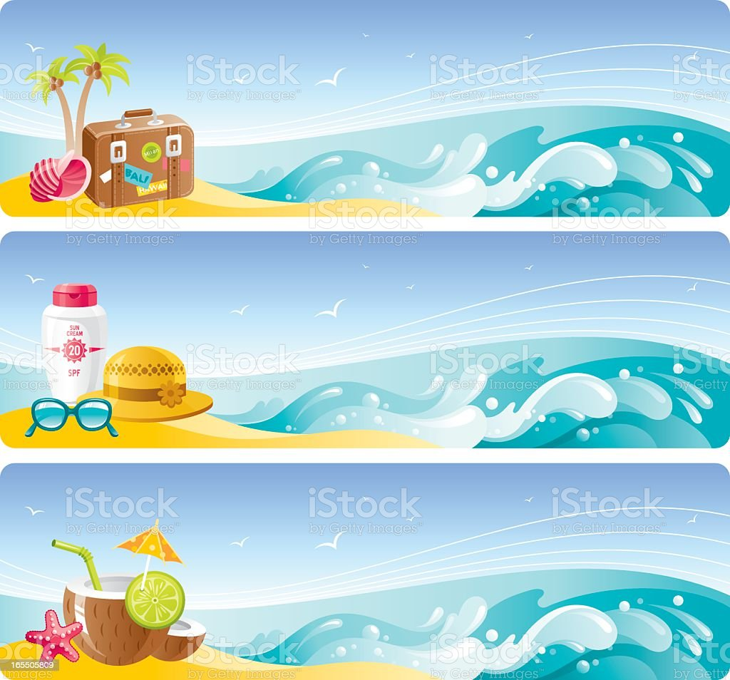 Beach vacation banners set royalty-free stock vector art