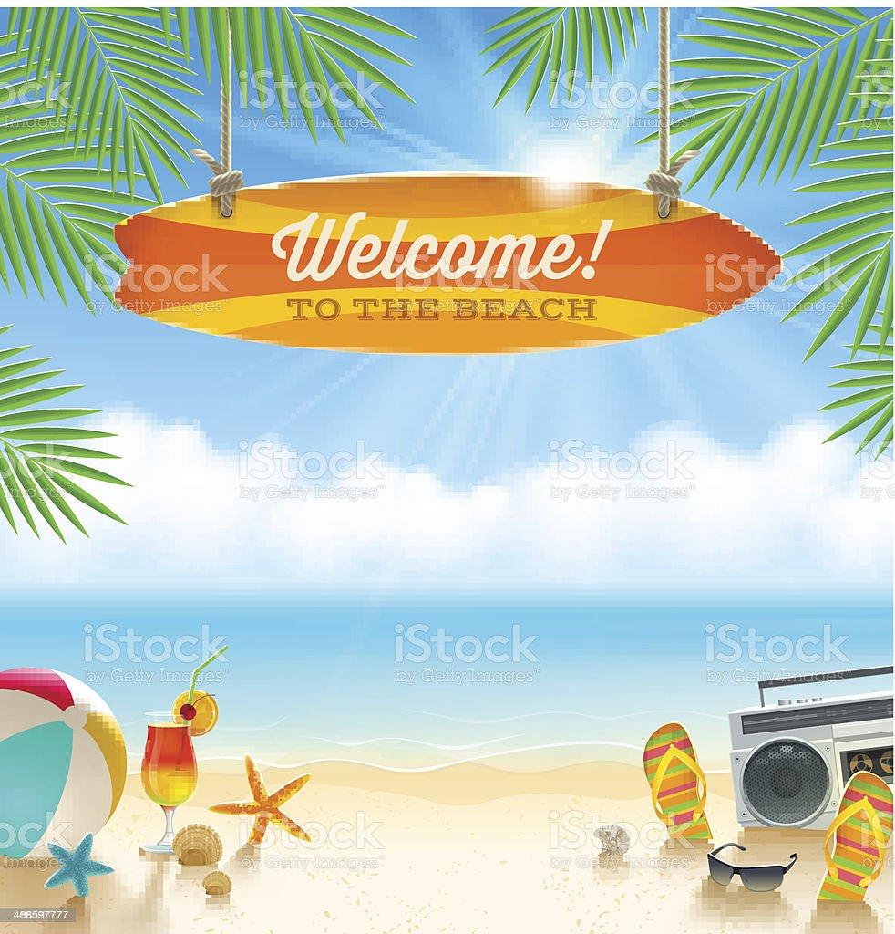 Beach vacation vector illustration vector art illustration