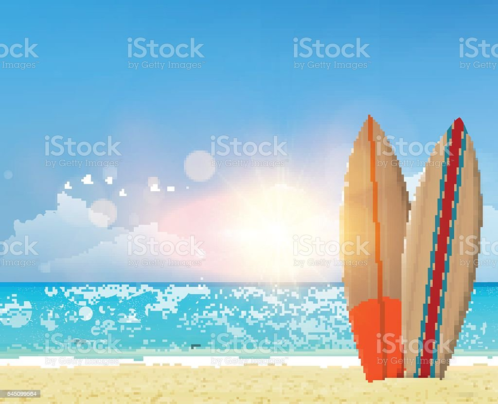 Beach vector background with surf boards. vector art illustration