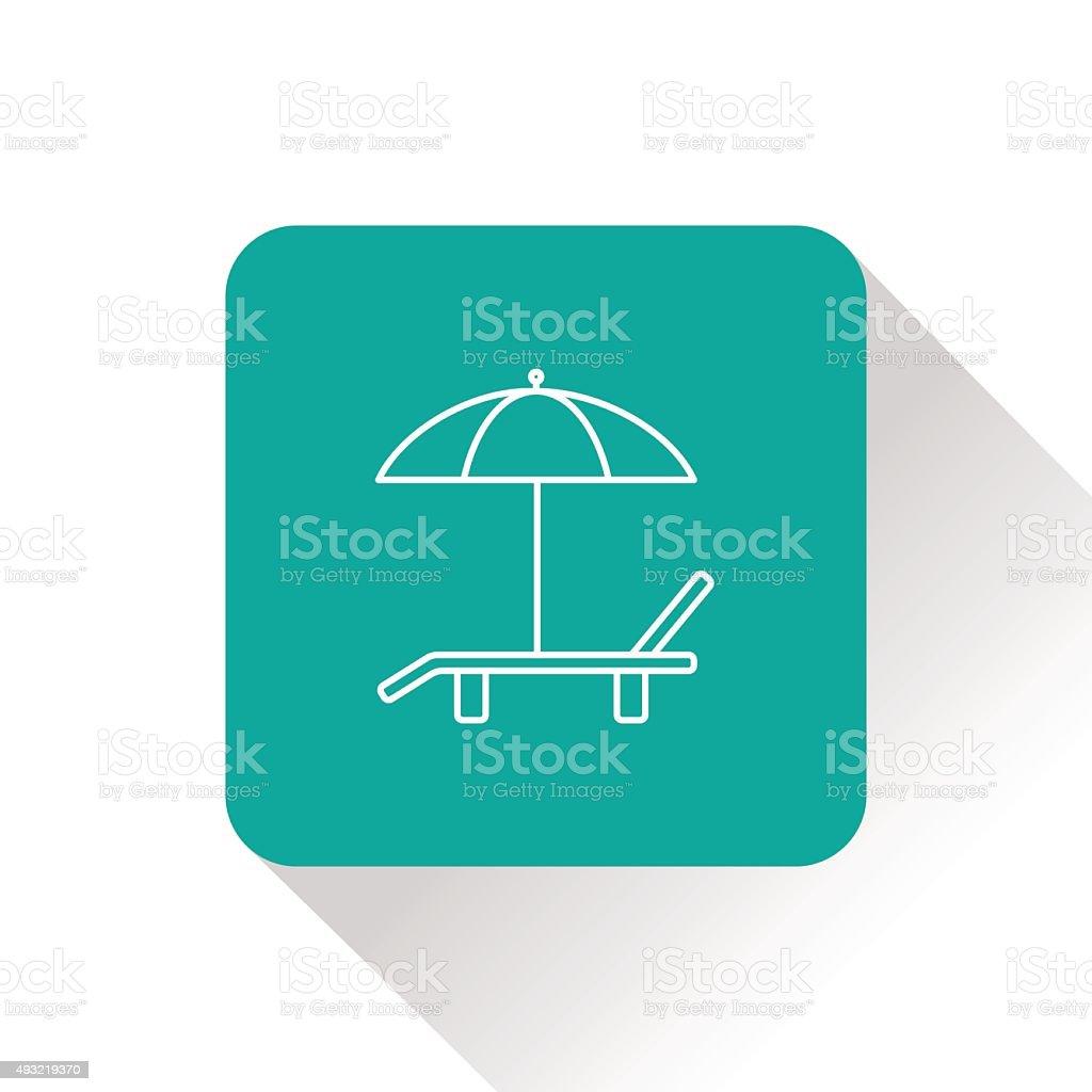 Beach vector icon. Umbrella with deck chair vector art illustration