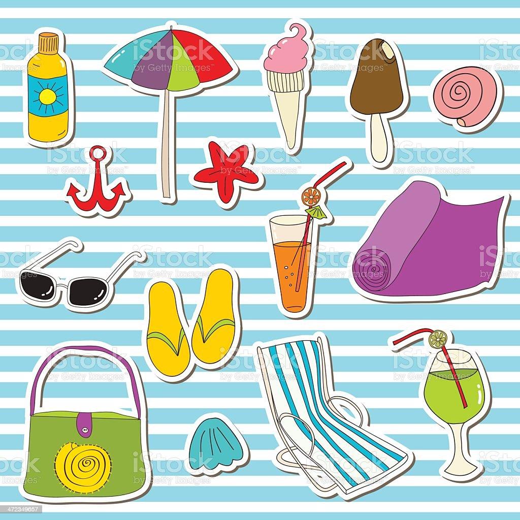 Beach vector stickers royalty-free stock vector art