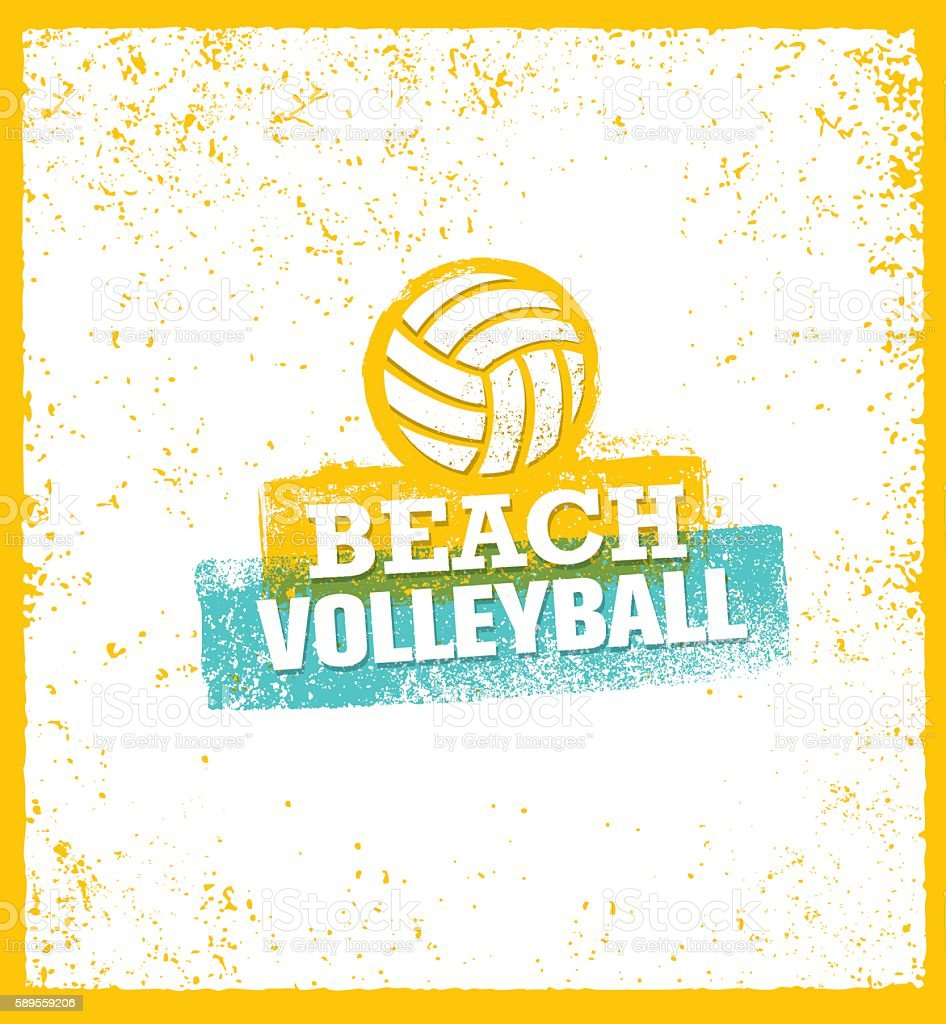 Beach Volleyball Creative Grunge Sport Sign Concept vector art illustration
