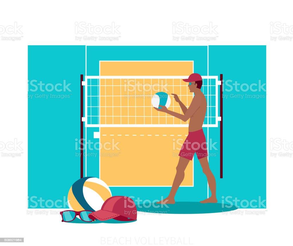 Beach Volleyball Sport Concept Icon Flat Design vector art illustration