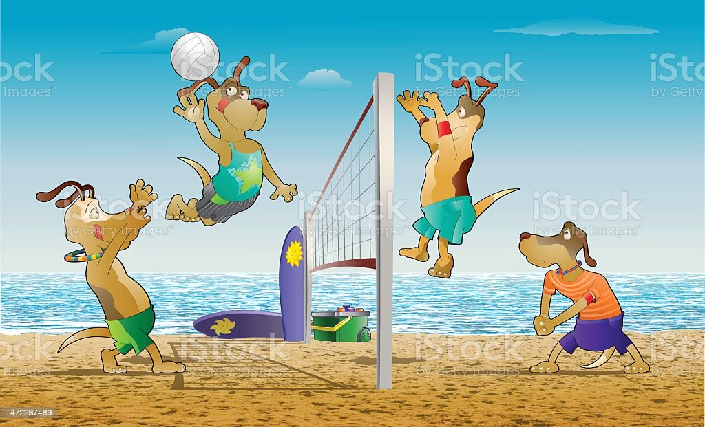 Beach Volleyball vector art illustration