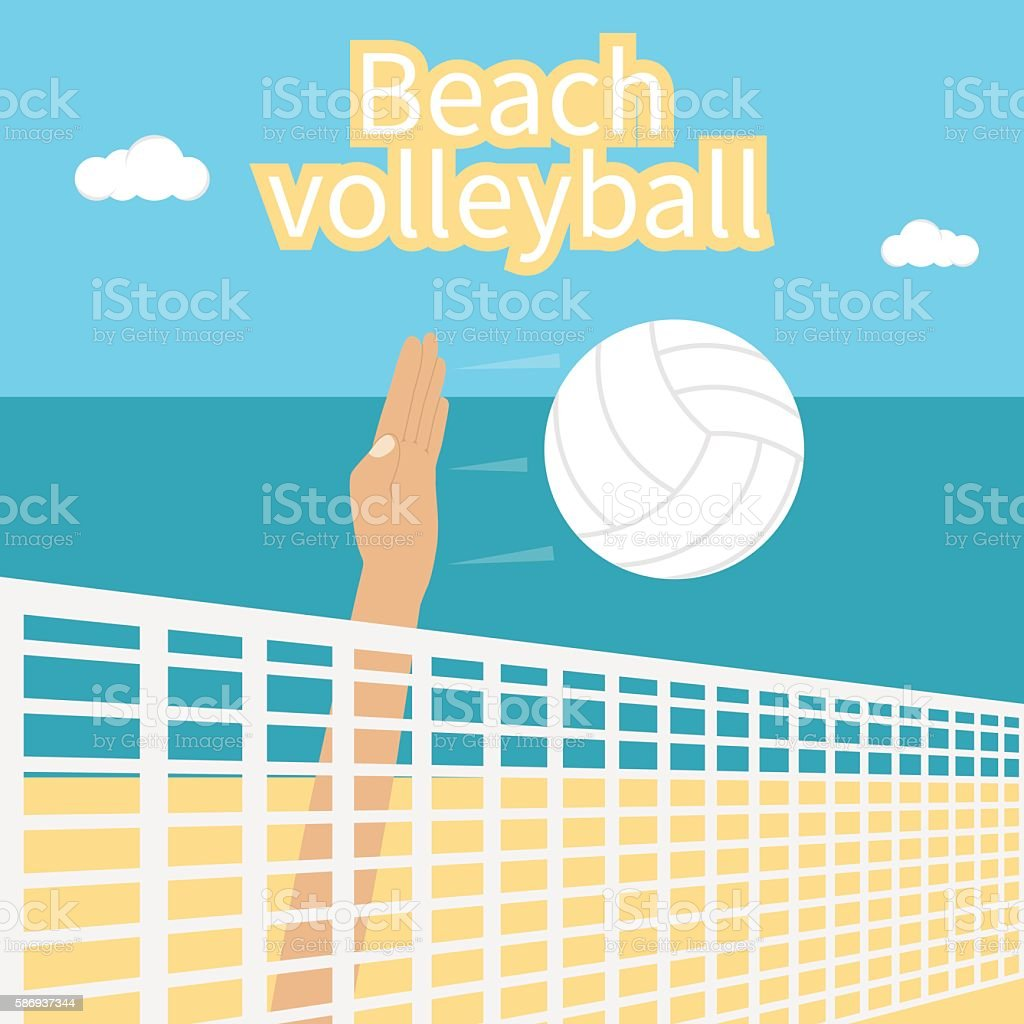 Beach Volleyball, vector vector art illustration