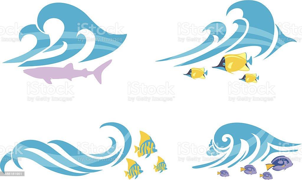 Beach Wave and Marine Life vector art illustration