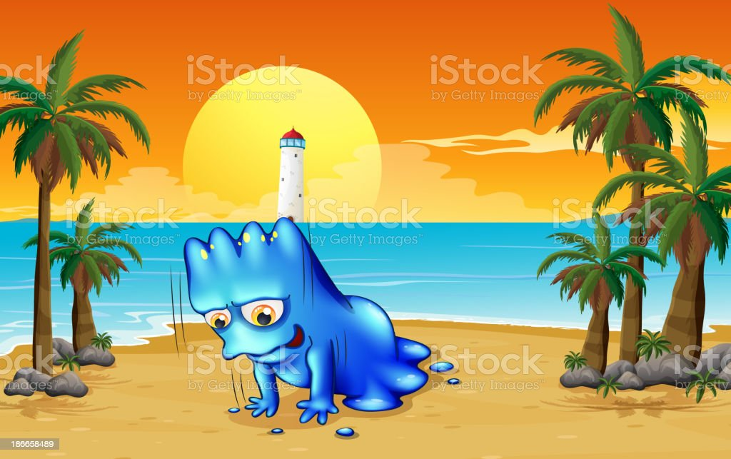 beach with a blue monster royalty-free stock vector art