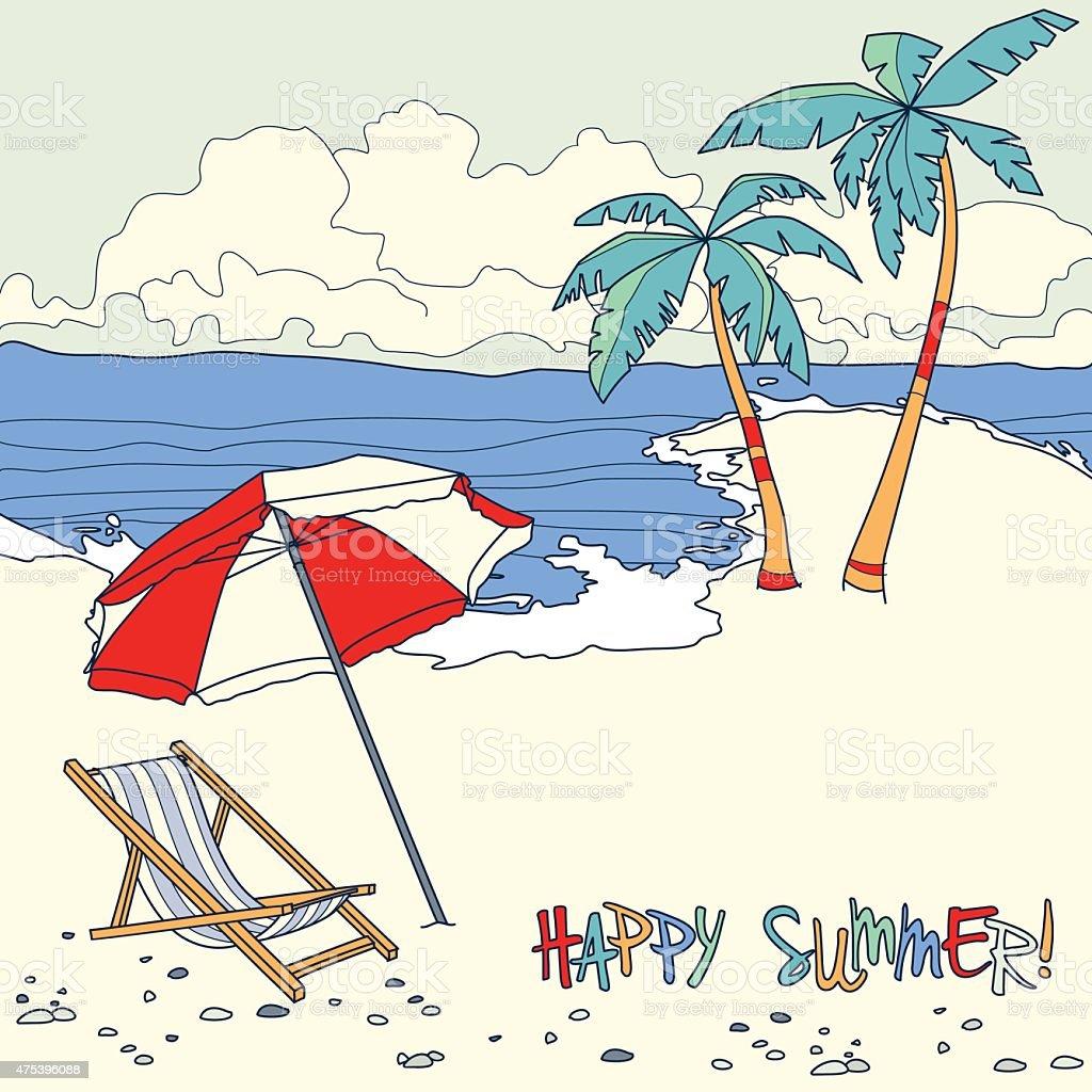 Praia com palmeiras e cadeira de praia.   Conceito de férias de verão nos EUA vetor e ilustração royalty-free royalty-free